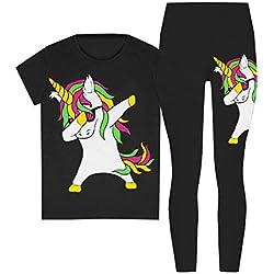 ZipZappa Niña Ragazza Lote de 2 piezas con estampado de Unicornio Mallas camiseta top de manga corta (13 años, Negro)