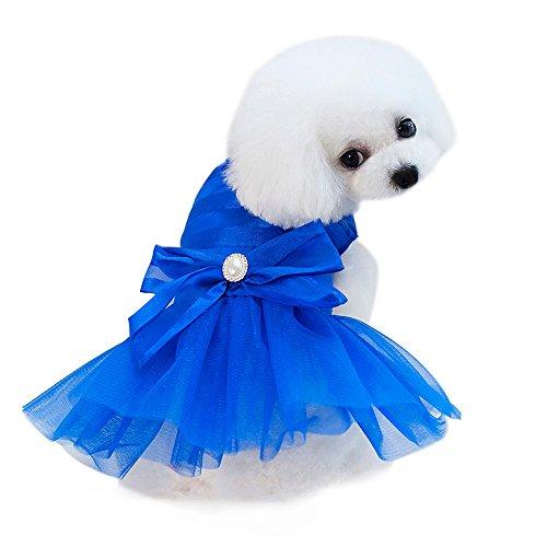 Robemon Hundekleider Prinzessin,Hund Kleid Spitze Tutu Weste Rock Strass Knoten Sommer Ärmellos Weste für Kleine Hunde Katze Mädchen Bekleidung