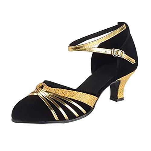Damen Tanzschuhe Latinische Schuhe mit geschlossenem Zehenbereich Salsa Party Ballroom Schoß Tanzen Damen modern, Schwarz - Schwarz - Größe: 40