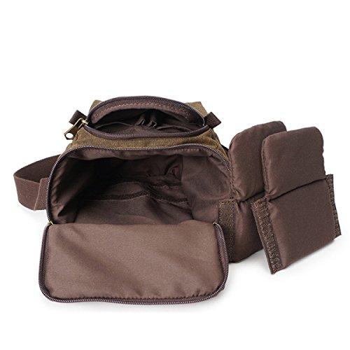Schulterbeutel Der Männer Retro-Messenger Bag Aus Leinenkameratasche Brown