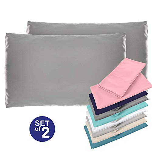 ⭐ Set de 2 x Taie d'oreiller 50 x 75 cm, Gris Anthracite, Microfibre (100% Polyester) - Taies d'Oreillers - Housse d'Oreiller Coussin pour le Lit - Taie Oreiller Qualité Confortable Hypoallergénique