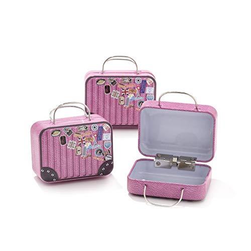 12pz scatola forma bagaglio valigia borsa in materiale ferro-portaconfetti bomboniere tema viaggio mondo (b3)