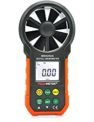 PEAKMETER MS6252A Handheld Digital Anemometer - Electronic Wind Speed Meter Air Volume Meter with Multifunctional Buttons LCD Backlit and Max/Min