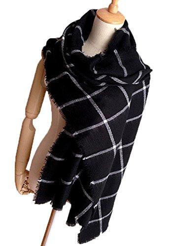 Minetom Lady Femmes Blanket Surdimensionné Echarpe Wrap Châle Plaid  MTD916-weijin-A 0ad5711c0a3