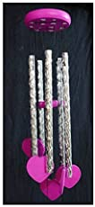 Gupta Fancy Store Metal Store Feng Shui Tinkling Sound Heart Wind Chime for Home/Office/Balcony(Pink)
