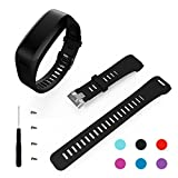 Garmin Vivosmart HR Band, BeneStellar Replacement Soft Silicone Bracelet Sport Strap Wristband Accessory with Screwdriver for Garmin Vivosmart HR (Black)