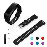 Garmin Vivosmart HR Armband, Benestellar Ersatz Soft Silikon Bracelet Zubehör mit Schraubendreher für Garmin Vivosmart HR (Schwarz)