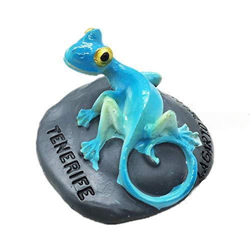 MUYU Magnet Chameleon of Tenerife - Imán 3D para Nevera, colección de Regalo de Recuerdos, decoración para el hogar y la Cocina, calcomanía magnética, imán para Nevera Tenerife España (Azul)