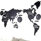 Murale di grandi dimensioni Design moderno Orologio da parete in legno Home Decor Saat Mappa del mondo Wall Art 3D Horloge Mural