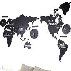 Idea Regalo - Murale di grandi dimensioni Design moderno Orologio da parete in legno Home Decor Saat Mappa del mondo Wall Art 3D Horloge Mural