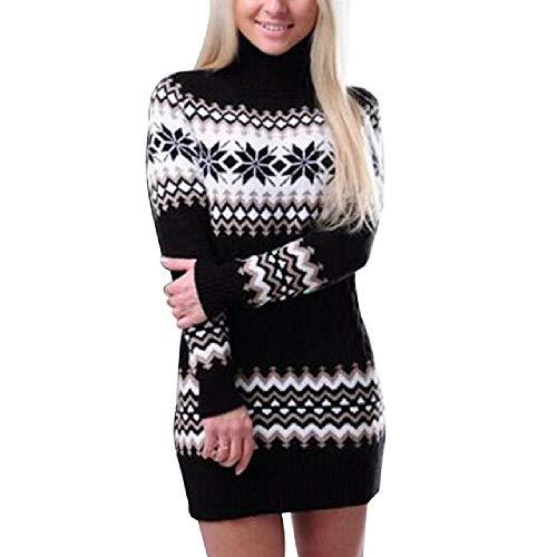 nobrand Herbst Winter Pullover Damen Langarm Sweater Kleid Langarm Sweater Kleid weiblich Patchwork Strickware Rollkragen Pullover Gr. M, Schwarz -