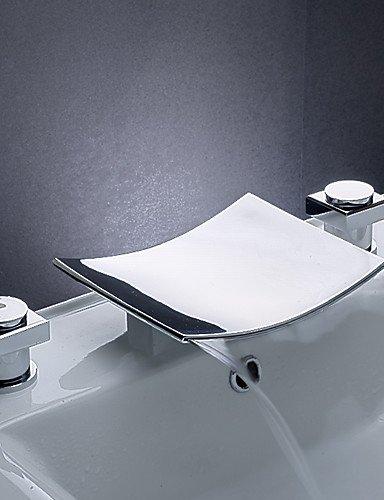KISSRAIN® Lavandino del bagno rubinetti cascata contemporanea in ottone cromato