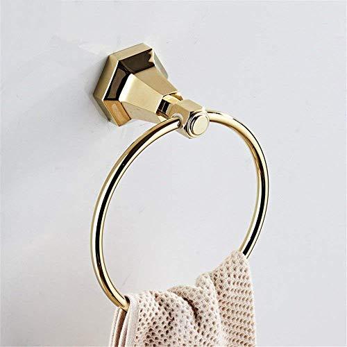 Willsego Kupfer Gold Handtuchhalter Wandhalterung Handtuchhalter Racks Badezimmer-Hardware-Kit, Korb (Farbe : Towel Ring) -