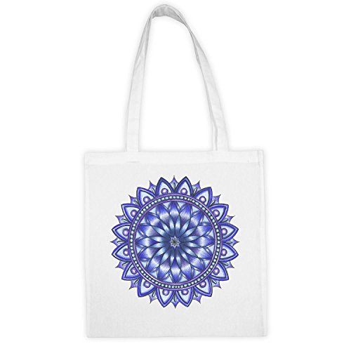 Love Sri Yantra Mandala Bhoo Bhuva Swa Blue Bolsa de tela blanca con impresión y dijo divertido. Tote bag. Bolsa de compras reutilizable. Bolsa shopping. Bolsa tote ideal par compras.