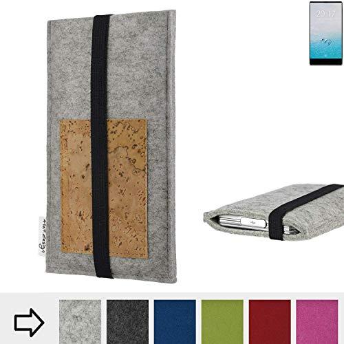 flat.design für Ulefone F1 Handyhülle Case Sintra mit Kartenfach (Natur) und Gummiband-Verschluss (schwarz) - passgenaue Smartphone Tasche Schutz Hülle aus 100% Wollfilz (hellgrau) für Ulefone F1