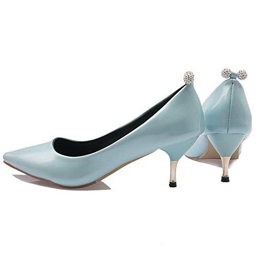 VogueZone009 Femme Tire Pu Cuir Pointu à Talon Correct Mosaïque Chaussures Légeres Bleu