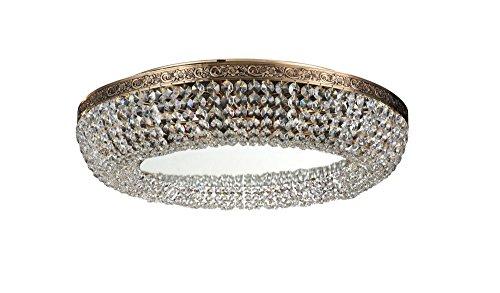 Moderne extravagante Kristall-Deckenleuchte, rund, Kaskade aus echten Kristallen, Gold-farbenes Metall, Spiegel, 8-flammig, exkl. E14 60W 220V-240V