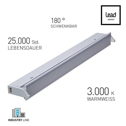 LED Unterbauleuchte | ECO ECL900 | Küchenleuchte | 180° schwenkbar | erweiterbar | 15 W | Aluminium | 3000 K warmweiß | 90cm