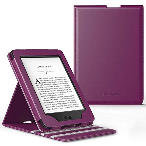 MoKo Kindle Paperwhite Hülle - Vertikal Flip Kunstleder Ständer Schutzhülle Smart Cover mit Auto Sleep/Wake für Alle Kindle Paperwhite, Violett -