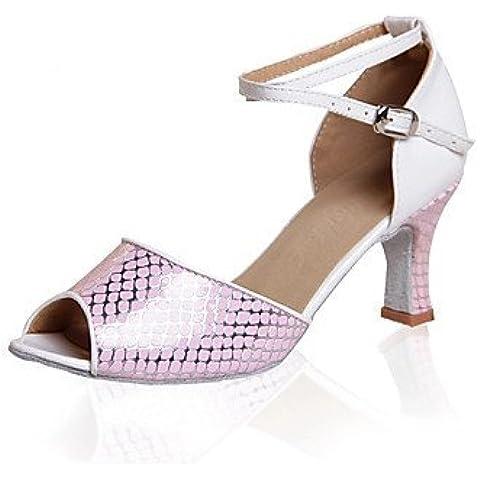 ShangYi Zapatos de baile (Negro/Rosado/Blanco) - Danza latina - No Personalizable - Tacón bajo