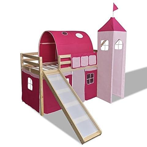 Loft Bed With Slide Ladder Natural Colour