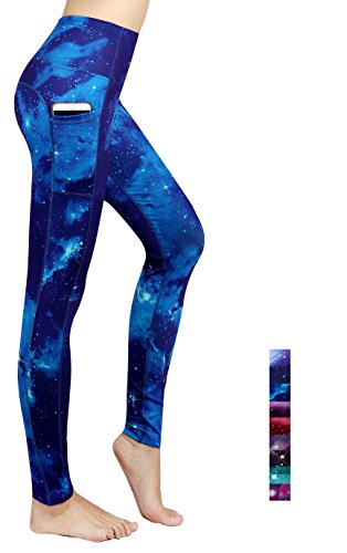 Munvot Tailored Geschenke Schön Galaxy Printed Tummy Control Yoga Pants Sport Leggings Blickdichte Leggings Hohe Taille Strumpfhose Bunt Shapewear Strech Sweathose Moonlight Blue XL (Leggings Taille Elastische Stretch)