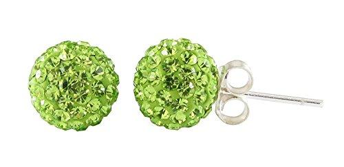 Chic-Net Glitzerkugel Peridot hell grün 6 mm Kristall Ohrstecker Ohrringe 925er Silber Damen Schmuck