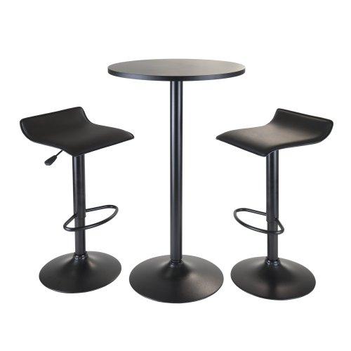 Winsome Obsidian-teiliges Pub mit runder Tisch und 2-Airlift Hocker, schwarz - Metall Runde Pub Tabelle