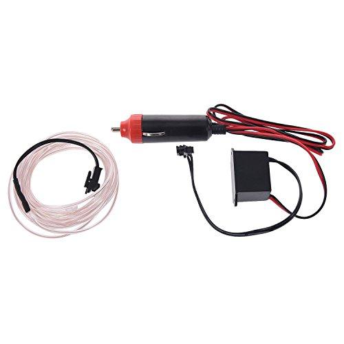 SODIAL(R) 3M Flexible EL cable Partido de neon del coche del LED luz del tubo de la cuerda + 12V Inversor - Blanco