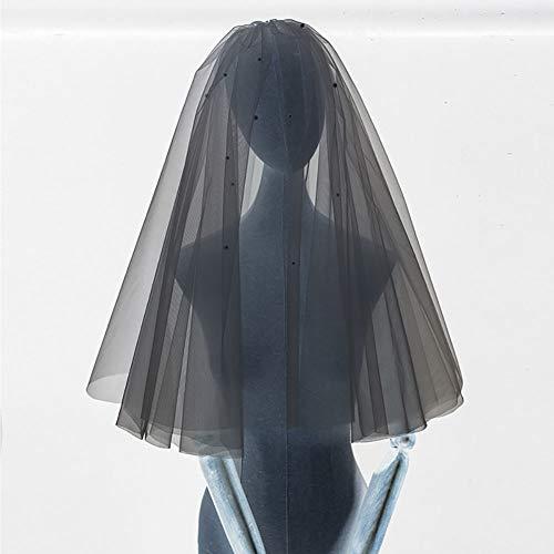 LINLIN Mode Schleier Prinzessin Spitze Perle Applique Tüll Mit Kamm Brautkleid Zubehör für Braut und Brautjungfern (weiß),60cm