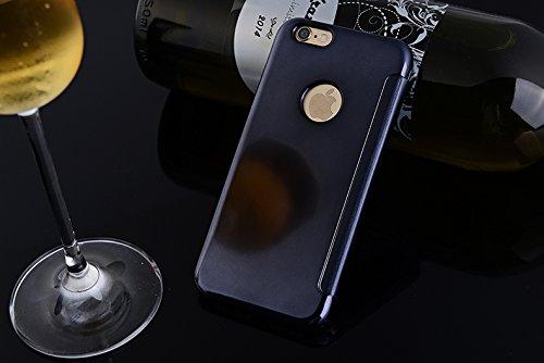 BCIT iPhone 6 Hülle - Luxus Elegant Glitter Smart Flip Ultra Slim Ansicht Galvanisierter Spiegel Hard Clear Transparente Telefon Tasche für iPhone 6 - Gold Marine Blau