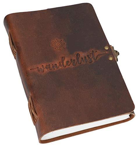 """Gusti Notizbuch Leder -\"""" Wanderlust\"""" Tagebuch Reisetagebuch Bullet Journal Skizzenbuch blanko klassisch Leder DIN A5 braun Hakenschnalle"""