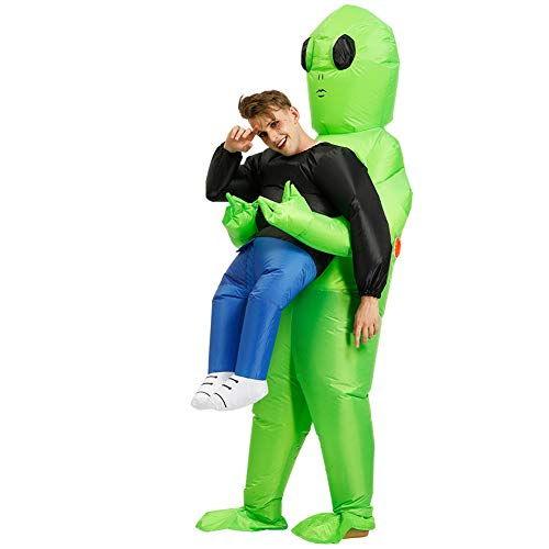 Alaojie Green Alien Carrying Human Costume Inflatable