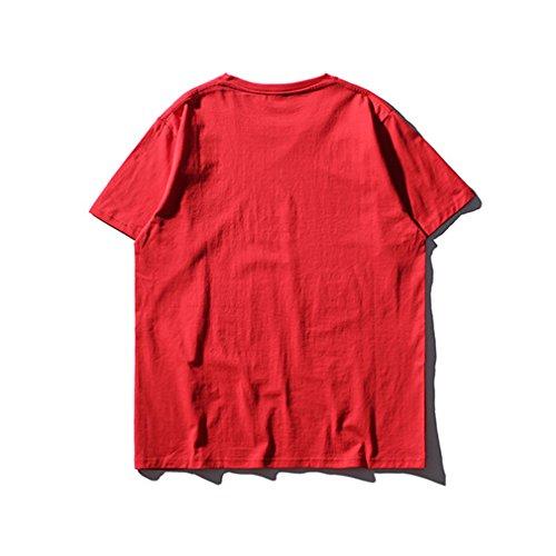 Honghu Herren Crew Neck Short Sleeve T-shirt Rot