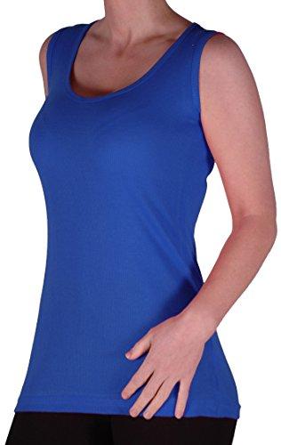 Eyecatch TM - Uma Frauen Ribbed Cami Top Damen Plus Größe Lange Camisole Vest Größen Konigsblau Gr. 48 (Lange Camisole)