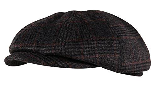 Itzu Luxury Brushed Wool Flannel 8 Panel Flat Cap Hat Ear Flap Baker Boy Tweed Check Grey