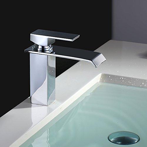 Homelody – Wasserfall Waschtisch-Einhebelmischer, ohne Ablaufgarnitur, breiter Auslauf, Chrom - 4