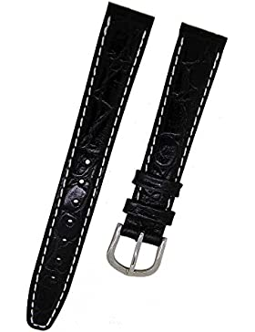 Orig.FORTIS Uhrenarmband LEDER schwarz mit weißer Naht KROKO 16mm 8819