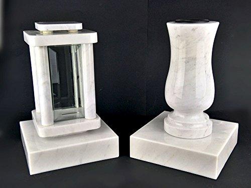 designgrab moderne Lampe Funéraire avec vase et 2 pièces Socle en marbre de Carrare Blanc pierre tombale Set