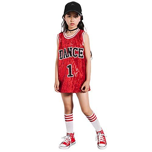 Mädchen Pailletten-Kostüm Hip Hop Dancewear Sparkle ärmelloses Trägershirt-Kleid (rot, - Sparkle Kleid Kostüm