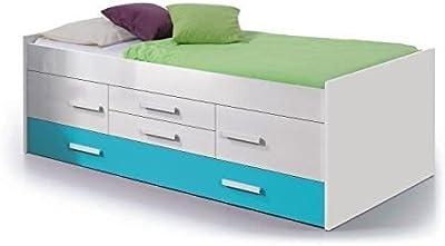 Habitdesign 0A7440BO - Cama doble juvenil, color Blanco Brillo y Azul, dimensiones: 201cm (ancho) x 65cm (alto) x 99 cm (fondo)