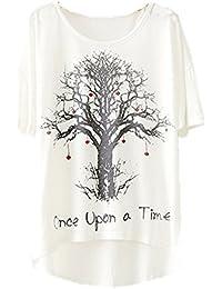YICHUN Femme Fille Léger T-Shirt Tops Fin Camisole Tee-shirt Manche de Chauve-souris Tunique Blouse Tees