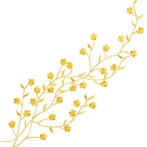 QUMAO - Toppa Termoadesiva Applique di Fiore Prugna di colore oro per Cucito Rifiniture Abbellimenti Badge Plum Flower Embroidery Patch Sew