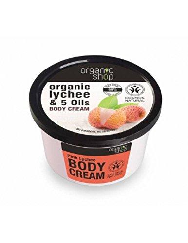 ORGANIC SHOP- Crème pour le corps Litchi Rose et 5 Huiles Organiques - Nourrit la peau - Douceur extraordinaire - Produit naturel - 250 ml