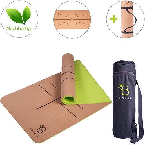 beneyu® Schadstofffreie Yogamatte Kork - Wunderbar Leichte und Umweltfreundliche Yogamatte rutschfest inkl. Yoga Tasche und Tragegurt für Yogamatte (183 x 61 x 0,6 cm)