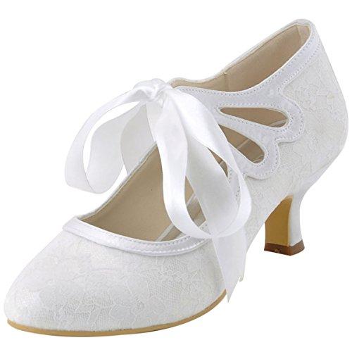 Brautschuhe Lace Damen Hc1521 Weiß Party Elegantpark 6qAFIc