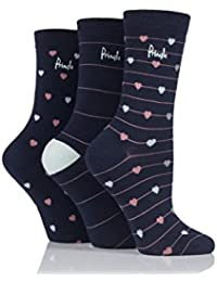 Ladies 3 Pair Rita Hearts and Stripes Pringle Cotton Socks