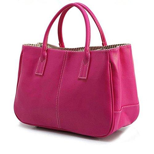 GSPStyle Damen Tragbare Handtasche Solid Klassische Stil Schultertaschen Dunkelrosa