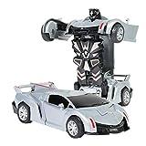 Mambain Auto Trasformabile per Bambini Robot Auto da Corsa in Scala 1:32,Deformazione da Collisione,Nessuna Batteria Necessaria,Macchine Giocattolo Educativi (Argento)