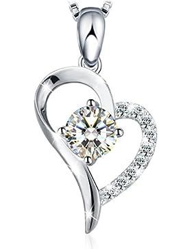 J.Rosée Kette Damen 925 Sterling Silber 5A Zirkonia 0.5 carat Anhänger 45+5cm Halskette Liebe Herz Diamant (weiß)